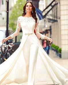 length Sleeves Bridal Jumpsuit Elegant Wedding pants dress with detachable train - Wedding Pantsuits & Jumpsuits Wedding Robe, Wedding Pantsuit, Wedding Attire, Wedding Ceremony, Womens Wedding Suits, Lace Wedding, Maternity Wedding, Backless Wedding, Mermaid Wedding