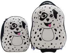 """CUTIES AND PALS KIDS BOY GIRL TRAVEL 17"""" CARRY-ON LUGGAGE + 13"""" BACKPACK - DALMATIAN. Material : ABS+Polycarbonate. High Quality. Light Weight. Sturdy. Durable. Two wheeled carry-on. Luggage : 17"""" H x 12"""" x 10"""" Weight : 3.97 lbs. Backpack : 13"""" H x 11"""" x 5"""" Weight : 2.2 lbs. PLEASE PEEL OFF THE PROTECTIVE FILM ON THE HARD SHELL OF BOTH ITEMS TO SEE THE BEAUTIFUL GLOSSY FINISH."""