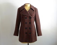 Vintage Double Breasted Check Plaid Coat