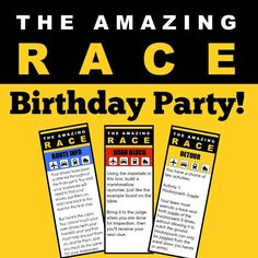 This post includes fantastic ideas for hosting an Amazing Race birthday party at home! You can also download free printable amazing race party invitations, amazing race game clues, and amazing race thank you notes!