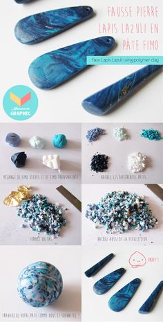 Tut to make a Lapis Lazuli stone in polymer clay (fimo). - Tut to make a Lapis Lazuli stone in polymer clay (fimo). Take … – The fimo in madness! Polymer Clay Kunst, Polymer Clay Canes, Polymer Clay Projects, Polymer Clay Jewelry, Polymer Clay Pendant, Lapis Lazuli, Diy Clay Earrings, Clay Charms, Schmuck Design