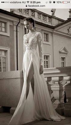 Dress: formal prom white slit cut long sleeve lace elegant