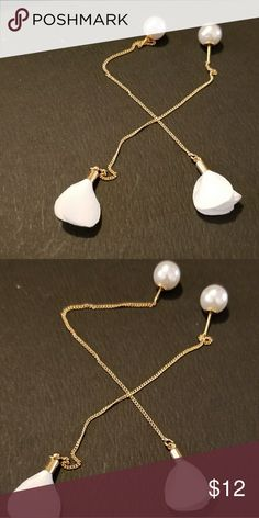 "CHIC GOLD TONE DANGLE PIERCED PEARL BACK EARRINGS BRAND NEW. NEVER WORN. WHITE SATIN FEEL MATERIAL. PEARL FASTENERS. DANGLES ABOUT 4"". PIERCED Jewelry Earrings"