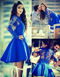Royal Blue Homecoming Dress,Lace Appliques Homecoming Dress,Long Sleeves Prom Dress,Bateau Neckline Party Dress,Mini Homecoming Dress,Illusion Back Prom Dress,Short Cocktail Dress: