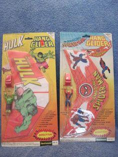 VINTAGE LOT INCREDIBLE HULK & SPIDERMAN HANG GLIDERS MARVEL COMICS 1970'S TOYS | eBay