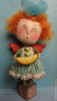 """"""" Дашуня и дыня"""" - рыжая девочка,рыжая кукла,дыня,текстильная кукла,наивный стиль"""