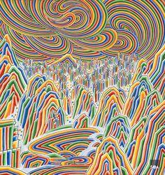 몽유금강산도 13, 43x40cm, 한지에 단청안료, 석채, 호분, 먹, 2015 Traditional Paintings, Traditional Japanese Art, Korean Crafts, Korean Painting, China Art, Korean Art, Illustrations And Posters, Op Art, Graphic Illustration