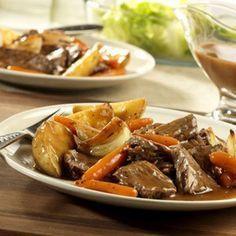 Ingredients  1 boneless beef bottom round roast or chuck pot roast (2 to 2 1/2 pounds) 1   teaspoon garlic powder 1   tablespoon vegetable oil