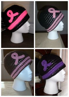 Awareness Ribbon Crocheted Hats - I think someone needs to make me one of these. :)  I'll take teal, purple or pink.