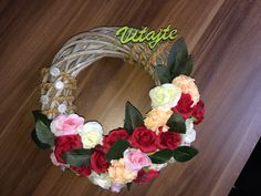 My handmade Home Door decoration Flower Roses Welcome Red Pink White Red And Pink, Pink White, Handmade Home, Floral Wreath, Roses, Wreaths, Decoration, Flowers, Home Decor