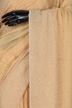 Beige Stone Embroidered Satin Saree-KL2997 Satin Saree, Traditional Looks, Green Stone, Sarees Online, Party Wear, Wedding Styles, Swarovski, Suit, Beige