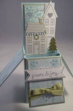 Holiday Home Card in a Box by Gloria Kremer, Sentiment from goodgreetings2014 Colors: Lost Lagoon, Pear Pizzazz, Smokey Slate and Soft Sky. DSP: All Is Calm