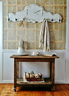 Antique Headboard Salvage into Coat Rack - not sure if the bottom was like that, but you could make it so.