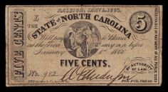 1863 5 Cents Note North Carolina