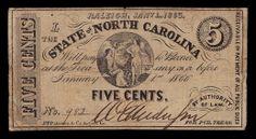 1863 5 Cents Note North Carolina