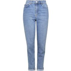 TopShop Moto Mid-Blue Mom Jeans (135 TND) ❤ liked on Polyvore featuring jeans, pants, bottoms, calças, mid stone, topshop jeans, folded jeans, blue jeans, cuffed blue jeans and high rise jeans