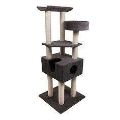 Kitten Around XL 5 ft Cat Tree Scratching Post Condo Charcoal Sherpa *** Read more reviews of the product by visiting the link on the image.