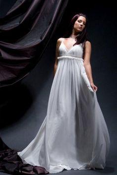 "greek goddess wedding dress. I love how ""flowy"" this dress is."