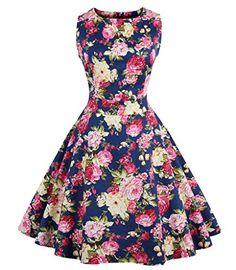 6edb21e36f59 Amazon.com: FavorGrace Hepburn Wind 50s Retro Capshoulder Vintage Party  Swing Dress: Clothing