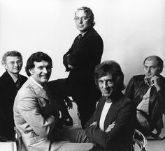 The five founding partners of Pentagram in From left to right, Theo Crosby, Kenneth Grange, Colin Forbes, Mervyn Kurlansky and Alan Fletcher. Paula Scher, Luke Powell, Essay Transitions, Montecristo Cigars, Lloyd's Of London, Life Partners, Advertising Signs, Cultura Pop, Business Design