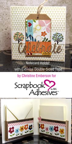 Looks like a card, but it's actually a Notecard Holder, by @HopeChances for #sbadhesivesby3L blog, w/tutorial. Uses #spellbinders #bellablvd