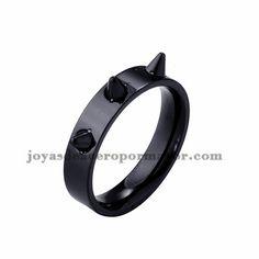 anillo de negro estilo punk en acero inoxidable -SSRGG971698