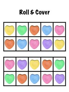 Candy Heart Dice and Graphing Activities, Prek-K, Photographic images of actual candy hearts, conversation hearts, sweethearts
