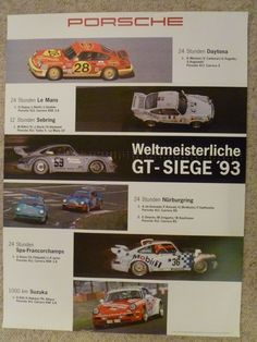 1993 Porsche 911 Carrera GT Siege Showroom Advertising Poster RARE Awesome L@@K | eBay