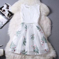 Summer Sleeveless Chiffon Organza Dress
