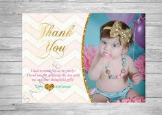 Little Girls Baby Girls Thank You Card. Pink by TwoAngelsDesigns