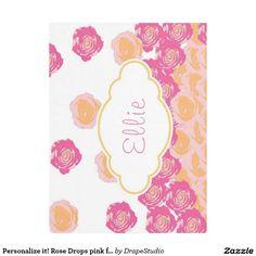 Personalize it! Rose Drops pink fleece blanket
