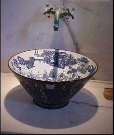 Whitney Stewart - fabulous blue & white toile sink basin