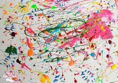 Jackson Pollock Style Splatter Painting - so much messy fun for kids!