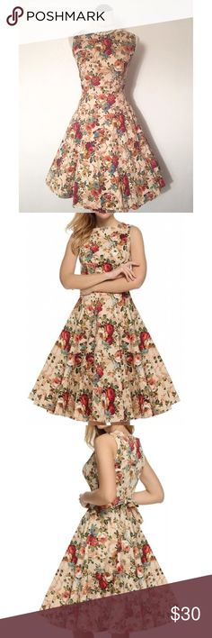 """✨ Vintage Inspired Swing Dress - Khaki Color This is a beautiful brand new vintage inspired look swing dress. Made of a cotton blend, is a one piece dress, has a back zipper, sleeveless, has a tie in back, a floral design and a rounded neck line.   Has the following measurements:  Large: US 12, Bust Range 35.0"""" - 37.0"""", Waist 29.5"""" - 31.5"""", Dress Length 40.2"""" Dresses"""