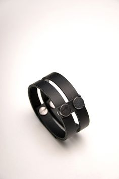 Aumorfia | LINEAR_A | DT_cuff | black leather & nickel studs