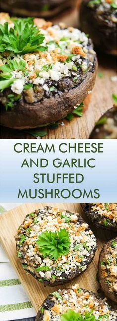 cheese and garlic stuffed mushrooms Cream Cheese and Garlic Stuffed Mushrooms is an old classic - this 30 min recipe is easy, delicious and will make you come back for just one more again and again! Vegetable Recipes, Vegetarian Recipes, Cooking Recipes, Healthy Recipes, Appetizer Recipes, Appetizers, Dinner Recipes, 30 Min Meals, Mushroom Dish
