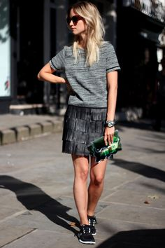 fringe leather skirt with sneakers