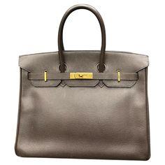 Sacs à main Hermès Hermès - Birkin 35 Sac à main Vache Liegee Ebene Cuir Marron ref.188644 - Joli Closet