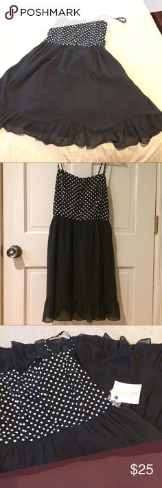 """ModCloth Sundress- """"Moon"""" label Classic black and white polka dot bodice with figure flattering black skirt. Features spaghetti straps and ruffled hem. ModCloth Dresses"""