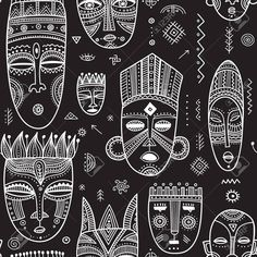 Vector seamless pattern with African ethnic tribal masks decorated. Vector seamless pattern with African ethnic tribal masks decorated.,new Vector seamless pattern with African ethnic tribal masks decorated with boho ornaments and ritual symbols. Tribal Art, Tribal Prints, Tribal Pattern Art, Tribal Pattern Wallpaper, Ethnic Print, African Symbols, African Tribal Patterns, Ethnic Patterns, Prints And Patterns