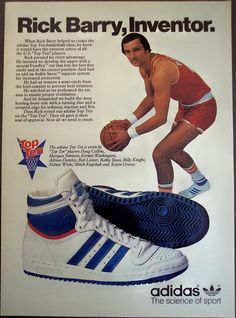 Awesome product-focused ad for Adidas basketball shoes, ala 1979.