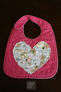 Heart Baby Girl Bib by LoveDeliveries on Etsy, $12.00