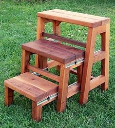 OPENED: Folding Stool (Options: X Mature Redwood, No Engraving, Transparent Premium Sealant) wood stove wooden chairs wooden doors wooden step stool wooden table 3 Step Stool, Kitchen Step Stool, Diy Stool, Woodworking Furniture, Woodworking Projects Plans, Diy Furniture, Folding Furniture, Plywood Furniture, Furniture Design