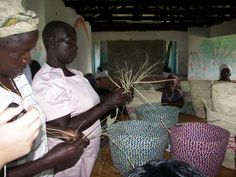 The widows at the Widow Care Center learned how to weave baskets which they sell at the local markets
