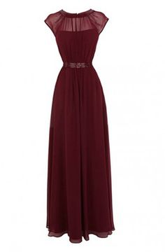 New-Arrival A-line Floor Length Chiffon Burgundy Prom/Evening Dress With Beading