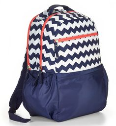 """Studio C Ziggaty Do Dah Backpack with laptop compartment for laptops up to 15"""".  #backtoschool #chevron #navy"""