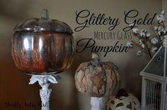 diy gold glitter mercury glass pumpkin, crafts, halloween decorations, home decor, how to