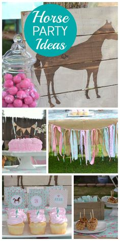 A Shabby Chic Horse girl birthday party in pink and turquoise with a fabric garland! See more party planning ideas at CatchMyParty.com!