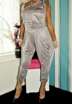 64ec27e769 silver shiny stretchy jumpsuit playsuit all in one uk size med