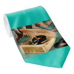 1950s portable record player print tie - accessories accessory gift idea stylish unique custom